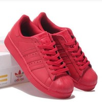 fashion adidas shell toe flats sneakers sport shell toe pure color shoes 7 color red