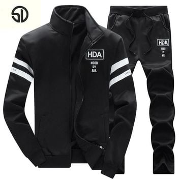 Tracksuit Men HDA Printded Brand-Clothing Fashion Casual Sudaderas Hombre Mens Thick Fleece Hoodies Coat+Sweat Pant Sweat Homme