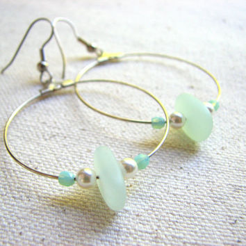 Sea Glass Hoop Earrings - Seafoam Green and Pearls on Silver Hoop Dangle Earrings