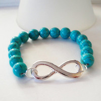 """Year End Sale 10% OFF Blue Turquoise Silver SidewaysInfinity Charm Stretchy Elastic Bracelet, Fits up to 8.0"""" Bridesmaid Gift. Best Friend"""