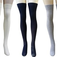 AM Landen® Ladies Cotton Thigh-Highs Socks Stockings 3 Pairs Set(US Size 6-8, Black/Light Gray/Burgundy)
