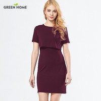 Green Home Simple Plain Straight Nursing Dresses for Pregnant Woman Clothing Modal Short Breastfeeding Dress Clothing