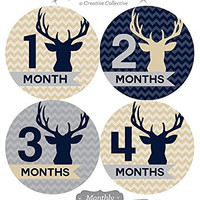 12 Monthly Baby Stickers, Boy, Deer, Antlers, Baby Belly Stickers, Monthly Onesuit Stickers, First Year Stickers Months 1-12, Chevron, Tan, Beige, Taupe, Blue, Navy, Gray, Grey, Woodland, Baby Boy