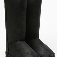 Qupid Faux Suede Black Distressed Boots