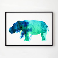 Hippo watercolor Wildlife decor Animal print EM248