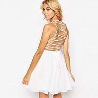 2017 hot Women's Party Cocktail Backless Cross Lace Up Bandage Sleeveless Halter Chiffon Dresses A Line Mini Dress Skater Dress