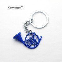 1pcs New How I met your Mother Blue French Horn keychain Pendant with Silver Chain TV Series Jewelry Mother's Day Gift