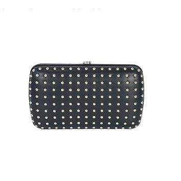 Gucci Women's Classic Black Leather Silver Studded Evening Clutch Small 310005