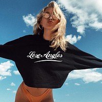 Women Simple Fashion All-match Show Thin Letter Print Long Sleeve Sweater Crop Tops