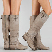 Beige Boots Knee High Womens Riding Zipper Buckle Tan Faux Leather Heel Sz 5-11