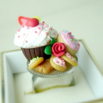 Tea Party Ring. Handmade Miniature Polymer Clay Food Jewelry. Cupcake Ring. Cocktail Ring. Food Jewelry.