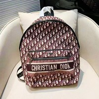 DIOR hot selling fashion full printed alphabet backpacks casual ladies shopping backpack