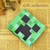Minecraft wallet Leather Green Black color, Gift Wallet