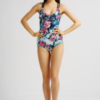 Floral Print One Piece Swimsuit 10091