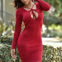 Red String Cut-out Bodycon Mini Dress