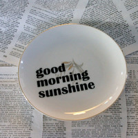 Good Morning Sunshine Small altered vintage plate by geekdetails