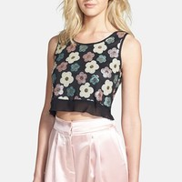 Tildon Sequin Floral Crop Top | Nordstrom