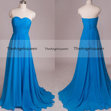 Simple Blue Strapless V-neck Pleated Bust Long Party Dress with Train,bridesmaid dress,cocktail dresses,evening dresses,cheap prom dress