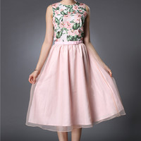 Floral Sleeveless Top with Belted Mesh Overlay A-line Pleated Midi Skirt