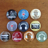Music Lovers Pinback Button Set of 10 Music Buttons, Music, Retro, Music Lover