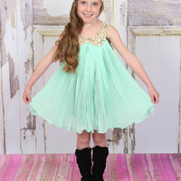 Mint Sequins Collar Pleated Chiffon Dress - Ryleigh Rue Clothing by MVB