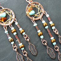 copper and turquoise dreamcatcher chained ear cuff SET turquoise czech beads cuff in boho gypsy hippie hipster native and tribal fusion
