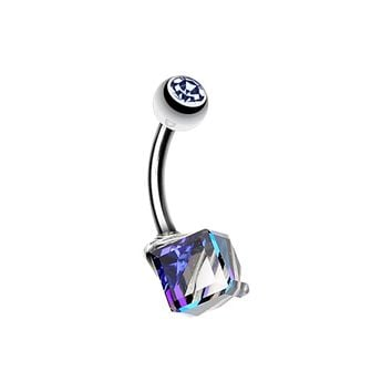 Prism Cube Belly Button Ring