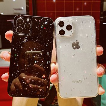 For Apple iPhone 6 6s 7 8 Plus 11 Pro 10 X XS XR Max Bling Glitter Star Moon Sparkle Sequins Soft Clear Silicone TPU Case Cover