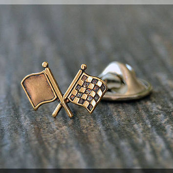 Brass Checkered Flag Tie Tac, Lapel Pin, Winner Flag Brooch, Gift for Him, Gift Under 10 Dollars, Race Car Tie Tack, Winners circle Pin