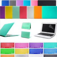 """3in1 Matte Hard Case Crystal Glossy Cover + Keyboard Skin + Screen Protection For 11"""" 12"""" 13"""" 15"""" New Macbook Air Retina Pro"""