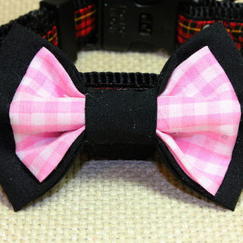 Medium Size Dog Bow Tie. Black Cotton and Pink Gingham Dog Bow Tie. Pink Checkered Fabric for Puppy Bow Tie. Velcro Loop to Attach to Collar