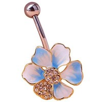 Sexy Rhinestone Lotus Ball Navel Belly Button Ring Barbell Body Piercing Jewellery