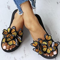 New women's shoes butterfly women platform sandals and slippers Yellow