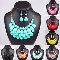Teardrop Cluster Collar Necklace and Earrings