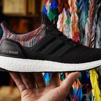 Mi Ultra Boost Rainbow (Black) - Size UK6 US6.5 M US7.5 W - EXTRA laces (grey)