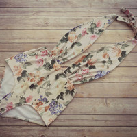 Swimsuit High Waisted Vintage Style One Piece  Retro Pin-up Maillot - Floral Print Bohemian Bathing Suit Swimwear - Unique Pretty & So Cute!