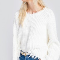 Women's Wildfox Distressed Crop Sweater