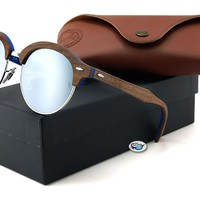 New Ray-Ban RB4246M CLUBROUND WOOD Sunglasses | Wood/ Silver Gradient Flash Lens