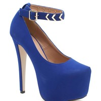 Nelly 6 Metal Trim Ankle Strap Platform