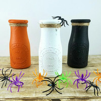 Halloween Dairy Bottles - Milk Bottle Vase - Orange Black White - Kids Party Decorations - Spooky Decor - Halloween Centerpiece -