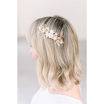 Blush and gold floral hair comb - style 5002 - Ready to ship