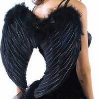 FREE SHIPPING Real Feather Black Angel Wings Fallen Angels Fairy Gothic Devil Costume Outfit