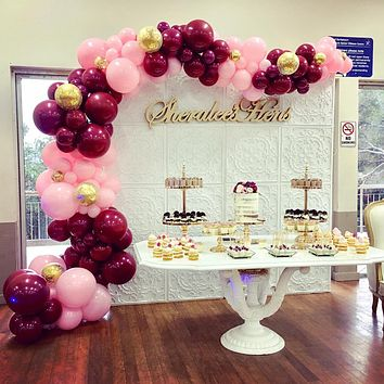 Pink Gold and Burgundy Balloons 70 pcs 12 inch Burgundy Balloons Baby Pink Balloons Gold Confetti Balloons Burgundy and Gold Party Decorations, Burgundy and Gold Wedding Decorations