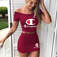 Champion New Fashion Letter Print Shorts Sleeve Top And Skirt Two Piece Suit Burgundy