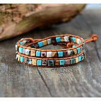 Colorful Life Mixed Stone Double Wrap Bracelet