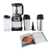 Nutri Ninja Auto IQ Compact System w/ Bowl + Steel Cups + 100 Recipe Cook Book