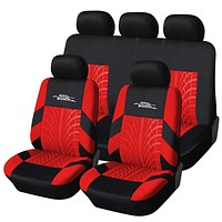 Polyester Fabric Universal Car Seat Cover Set Red Car Styling Fit Most Car Interior Accessories Sedans Seat Covers for Car Care