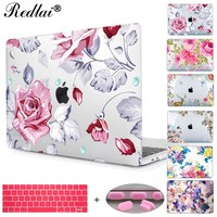 Redlai Colorful Floral Plastic Print Hard Case Cover For Macbook Pro Retina 13 12 15 Air 13 11 New Pro 13 15 Touch bar Sleeve