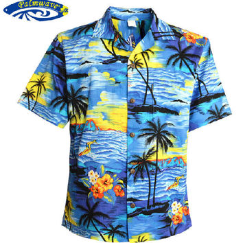 Summer 2014 Men'S Plus Size Cotton Short-Sleeved Beach Shirt Hawaiian Leisure Printing Loose Casual Shirts Free Shipping Q449
