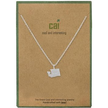 Washington Dainty Charm State Silver Necklace